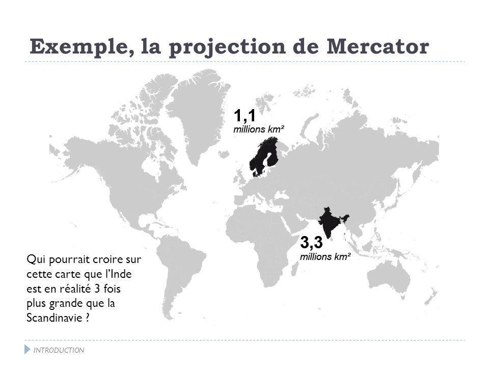 Exemple, la projection de Mercator INTRODUCTION La Russie parait 2 fois plus grande que lAfrique.