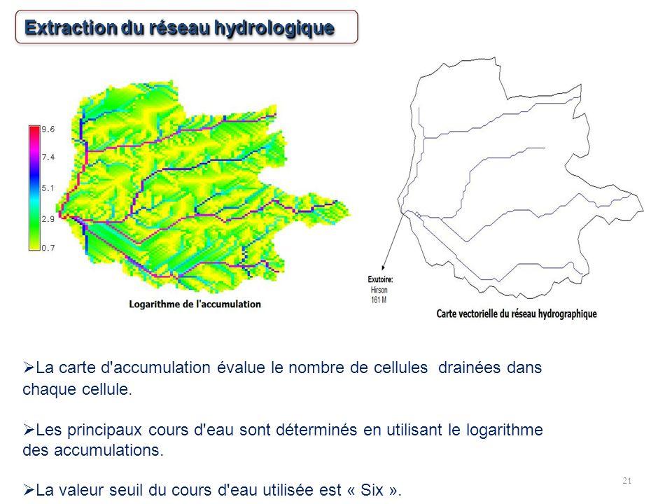 21 La carte d'accumulation évalue le nombre de cellules drainées dans chaque cellule. Les principaux cours d'eau sont déterminés en utilisant le logar