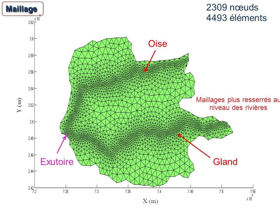 24 2309 nœuds 4493 éléments MaillageMaillage Maillages plus resserrés au niveau des rivières Gland Oise Exutoire X (m) Y (m)