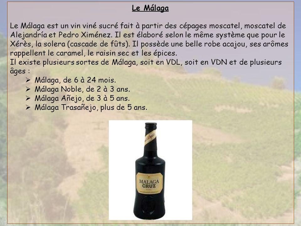 Le Málaga Le Málaga est un vin viné sucré fait à partir des cépages moscatel, moscatel de Alejandría et Pedro Ximénez. Il est élaboré selon le même sy