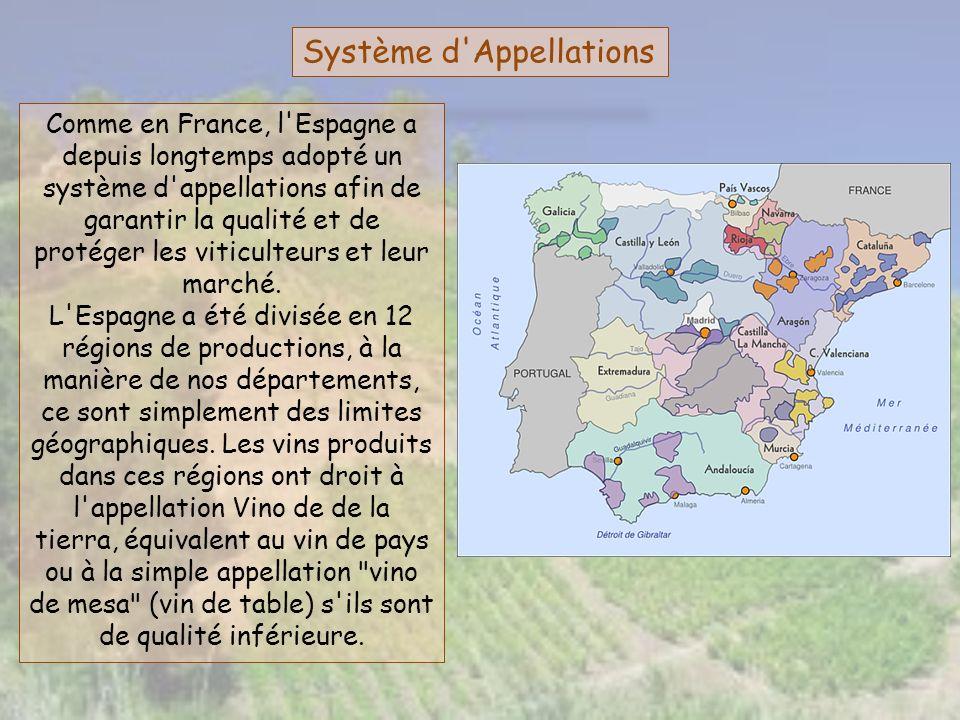 Système d'Appellations Comme en France, l'Espagne a depuis longtemps adopté un système d'appellations afin de garantir la qualité et de protéger les v
