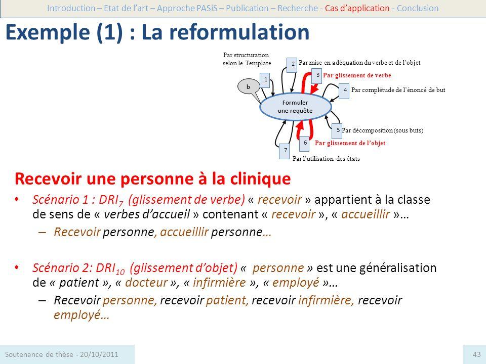 Recevoir une personne à la clinique Scénario 1 : DRI 7 (glissement de verbe) « recevoir » appartient à la classe de sens de « verbes daccueil » conten