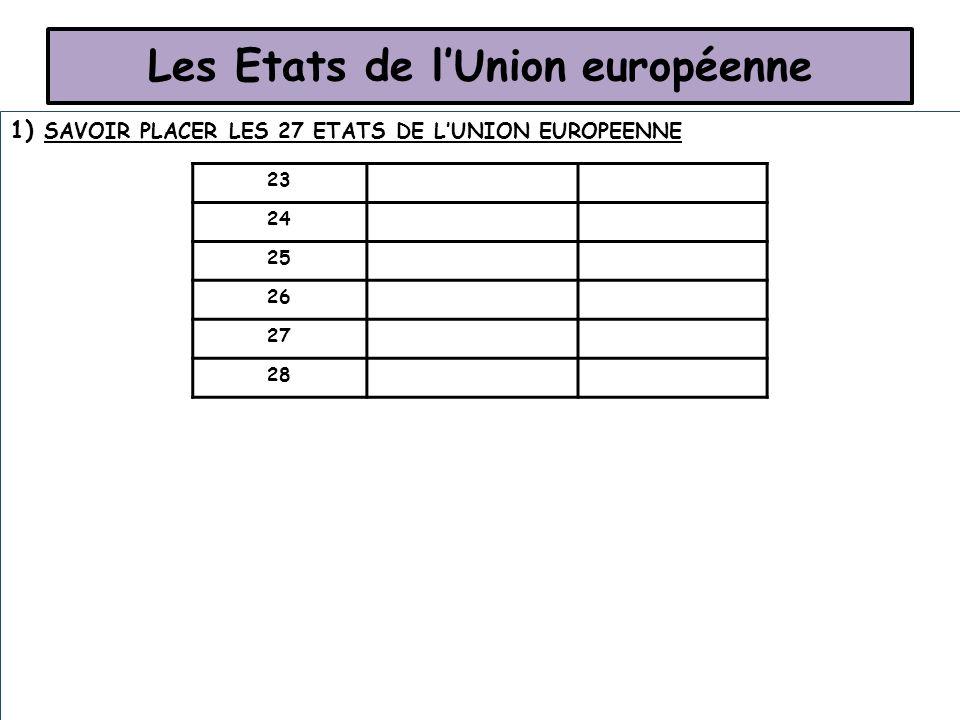 Les Etats de lUnion européenne 1) SAVOIR PLACER LES 27 ETATS DE LUNION EUROPEENNE 23 24 25 26 27 28