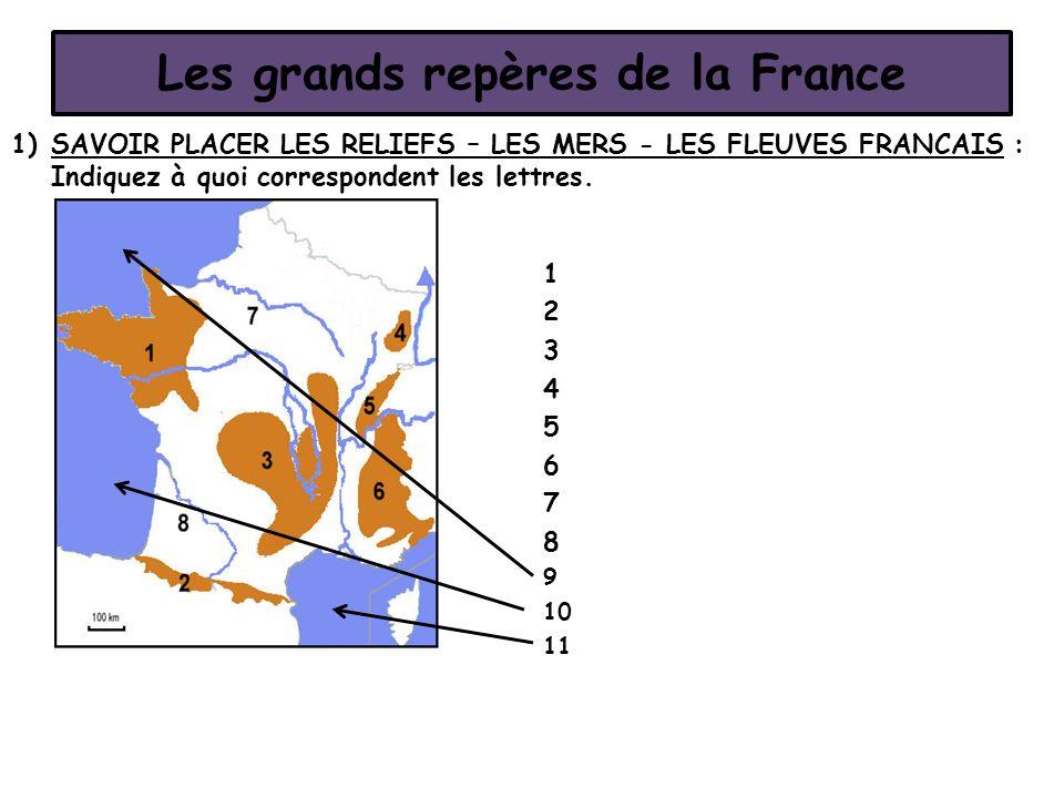 Les grands repères de la France 1)SAVOIR PLACER LES RELIEFS – LES MERS - LES FLEUVES FRANCAIS : Indiquez à quoi correspondent les lettres. 1 2 3 4 5 6