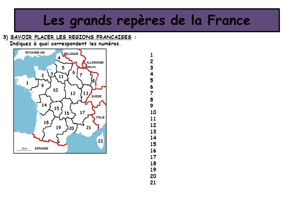Les grands repères de la France 3) SAVOIR PLACER LES REGIONS FRANCAISES : Indiquez à quoi correspondent les numéros. 1 2 3 4 5 6 7 8 9 10 11 12 13 14