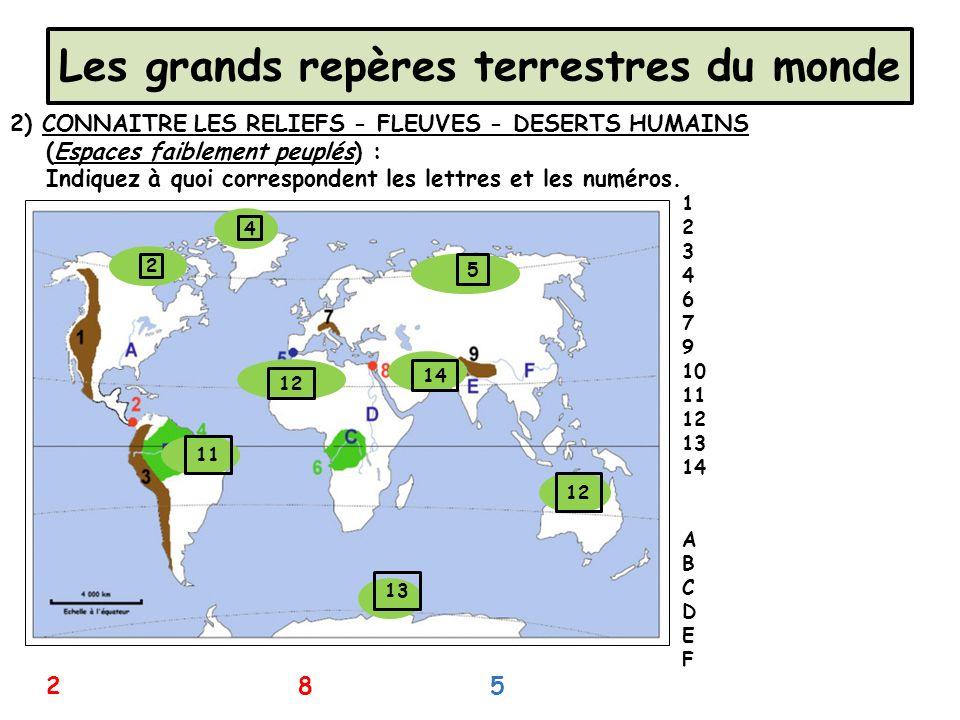 Les grands repères terrestres du monde 2) CONNAITRE LES RELIEFS - FLEUVES - DESERTS HUMAINS (Espaces faiblement peuplés) : Indiquez à quoi corresponde