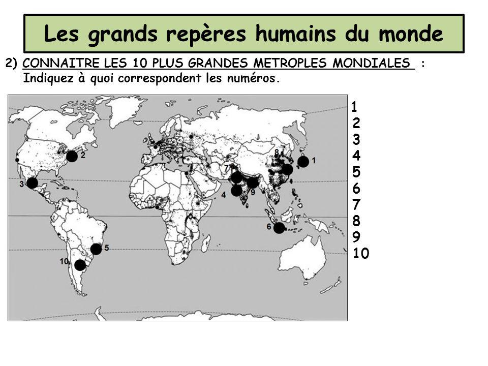 Les grands repères humains du monde 2) CONNAITRE LES 10 PLUS GRANDES METROPLES MONDIALES : Indiquez à quoi correspondent les numéros. 1 2 3 4 5 6 7 8