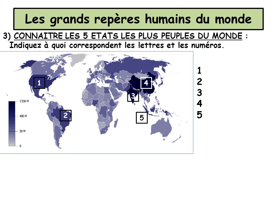 Les grands repères humains du monde 3) CONNAITRE LES 5 ETATS LES PLUS PEUPLES DU MONDE : Indiquez à quoi correspondent les lettres et les numéros. 1 2