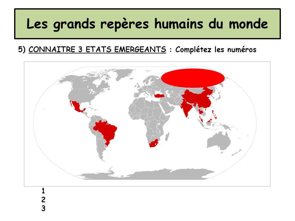 Les grands repères humains du monde 5) CONNAITRE 3 ETATS EMERGEANTS : Complétez les numéros 1 2 3