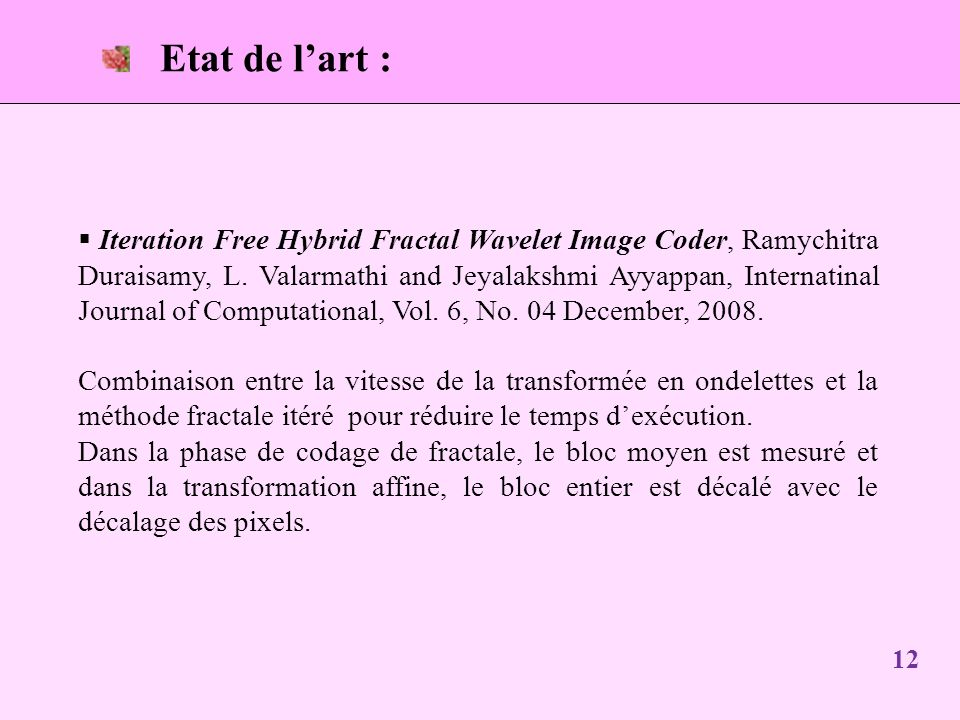Etat de lart : 12 Iteration Free Hybrid Fractal Wavelet Image Coder, Ramychitra Duraisamy, L.