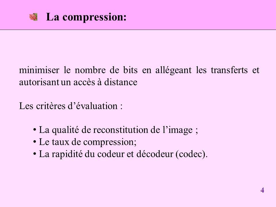La compression: minimiser le nombre de bits en allégeant les transferts et autorisant un accès à distance Les critères dévaluation : La qualité de reconstitution de limage ; Le taux de compression; La rapidité du codeur et décodeur (codec).