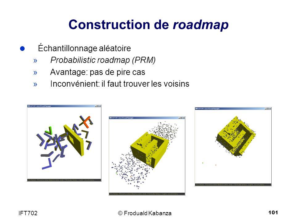 101 Échantillonnage aléatoire »Probabilistic roadmap (PRM) »Avantage: pas de pire cas »Inconvénient: il faut trouver les voisins Construction de roadmap © Froduald KabanzaIFT702