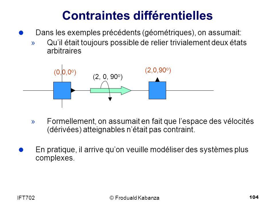 104 Contraintes différentielles Dans les exemples précédents (géométriques), on assumait: »Quil était toujours possible de relier trivialement deux états arbitraires »Formellement, on assumait en fait que lespace des vélocités (dérivées) atteignables nétait pas contraint.