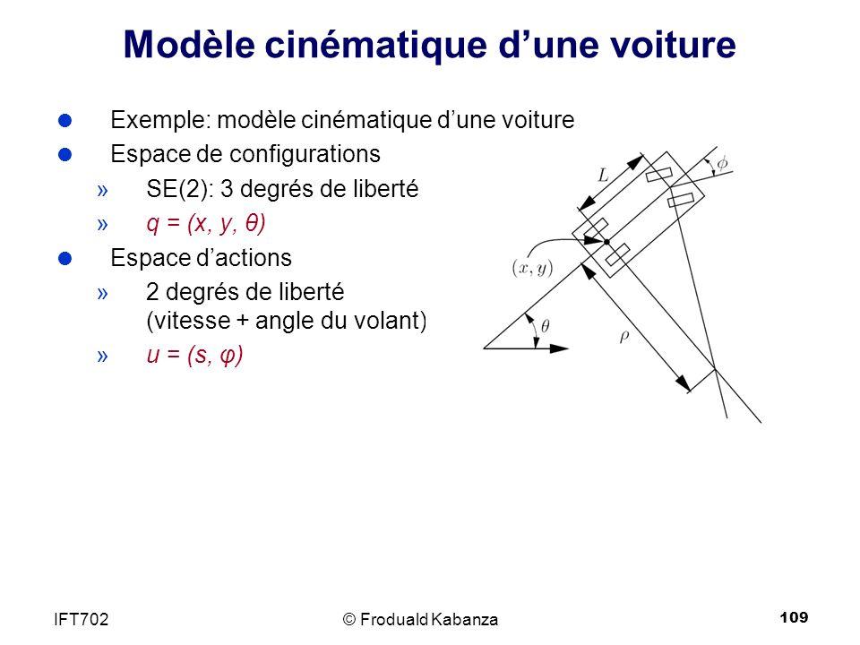 109 Modèle cinématique dune voiture Exemple: modèle cinématique dune voiture Espace de configurations »SE(2): 3 degrés de liberté »q = (x, y, θ) Espace dactions »2 degrés de liberté (vitesse + angle du volant) »u = (s, φ) © Froduald KabanzaIFT702