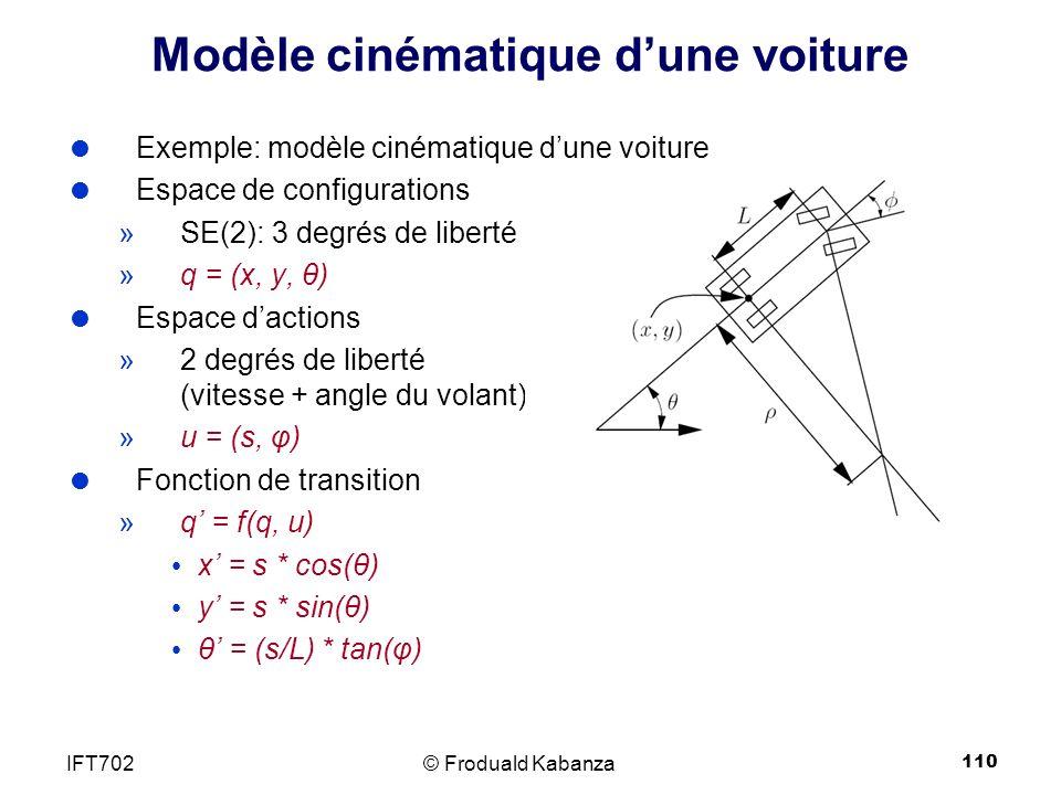 110 Modèle cinématique dune voiture Exemple: modèle cinématique dune voiture Espace de configurations »SE(2): 3 degrés de liberté »q = (x, y, θ) Espace dactions »2 degrés de liberté (vitesse + angle du volant) »u = (s, φ) Fonction de transition »q = f(q, u) x = s * cos(θ) y = s * sin(θ) θ = (s/L) * tan(φ) © Froduald KabanzaIFT702