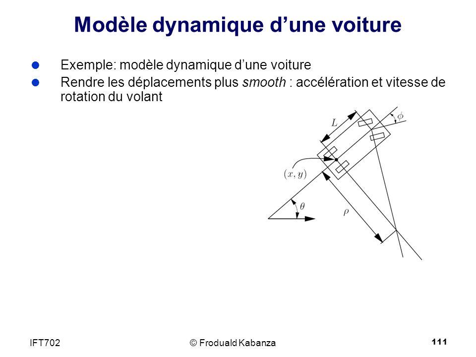 111 Modèle dynamique dune voiture Exemple: modèle dynamique dune voiture Rendre les déplacements plus smooth : accélération et vitesse de rotation du volant © Froduald KabanzaIFT702