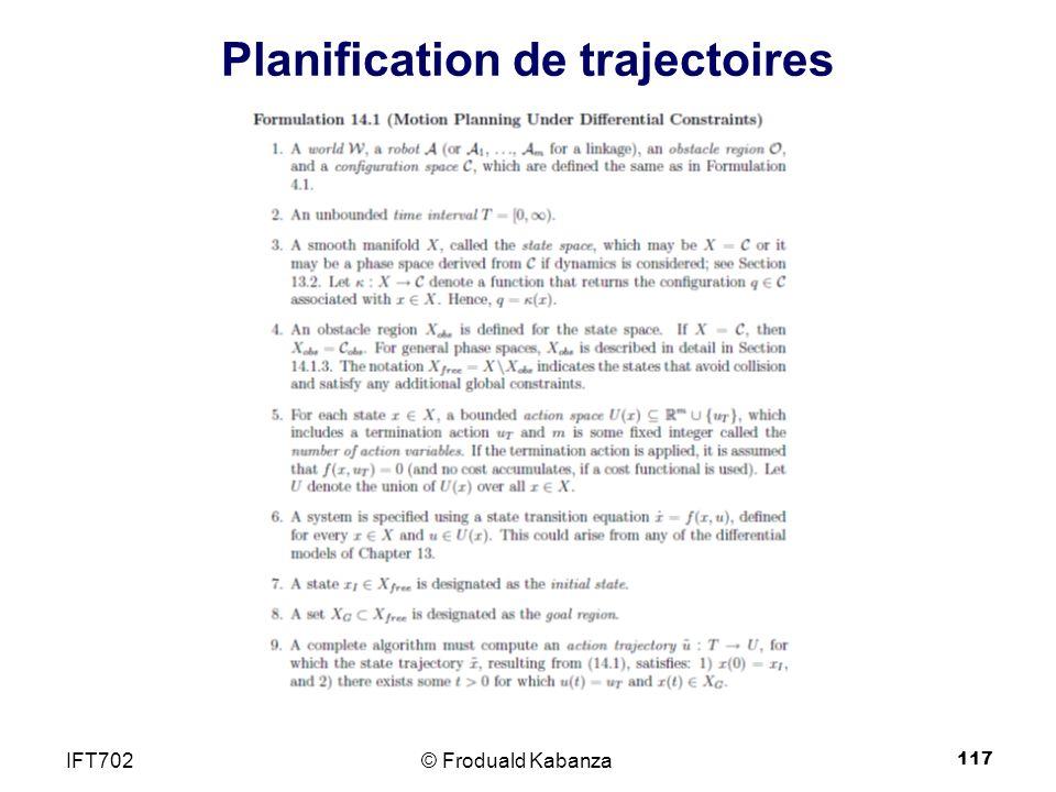 117 Planification de trajectoires © Froduald KabanzaIFT702
