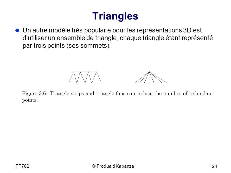 Triangles Un autre modèle très populaire pour les représentations 3D est dutiliser un ensemble de triangle, chaque triangle étant représenté par trois points (ses sommets).