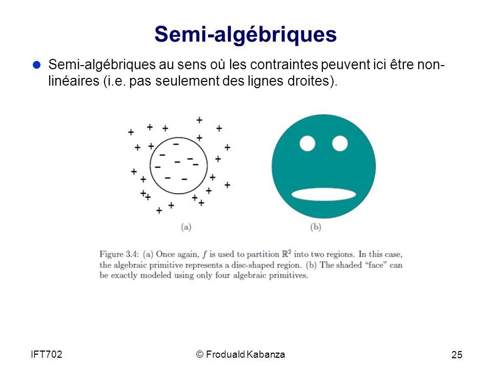 Semi-algébriques Semi-algébriques au sens où les contraintes peuvent ici être non- linéaires (i.e.