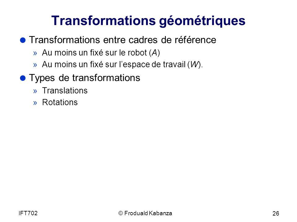 Transformations géométriques Transformations entre cadres de référence »Au moins un fixé sur le robot (A) »Au moins un fixé sur lespace de travail (W).