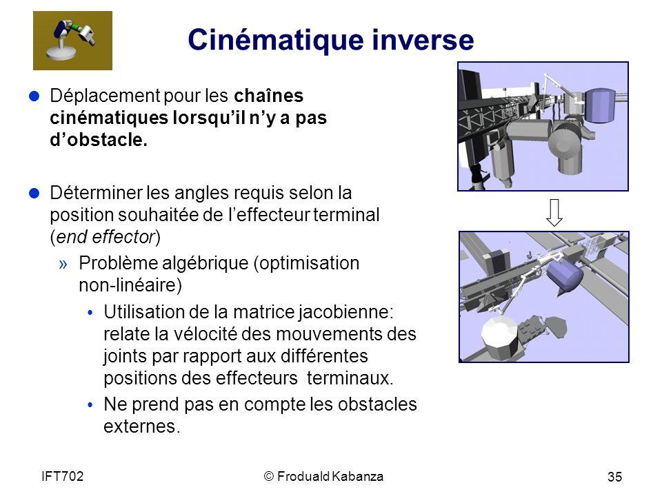 Cinématique inverse Déplacement pour les chaînes cinématiques lorsquil ny a pas dobstacle.