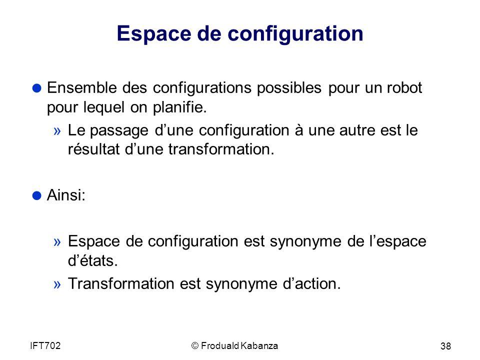 Espace de configuration Ensemble des configurations possibles pour un robot pour lequel on planifie.