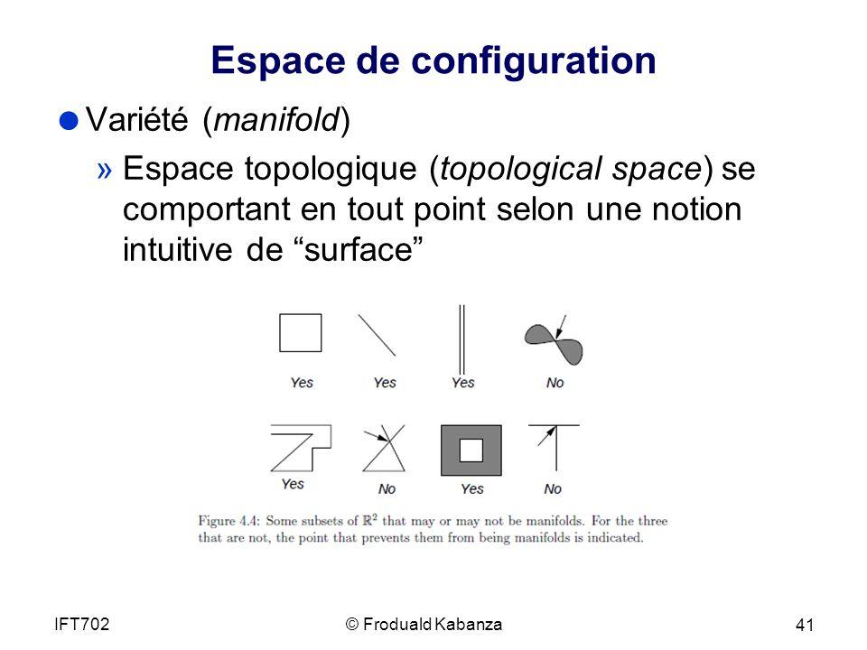 Espace de configuration Variété (manifold) »Espace topologique (topological space) se comportant en tout point selon une notion intuitive de surface © Froduald KabanzaIFT702 41