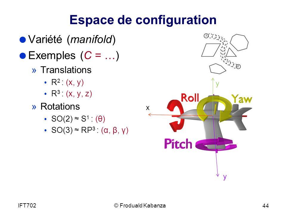 Espace de configuration Variété (manifold) Exemples (C = …) »Translations R 2 : (x, y) R 3 : (x, y, z) »Rotations SO(2) S 1 : (θ) SO(3) RP 3 : (α, β, γ) © Froduald KabanzaIFT702 44 x y y