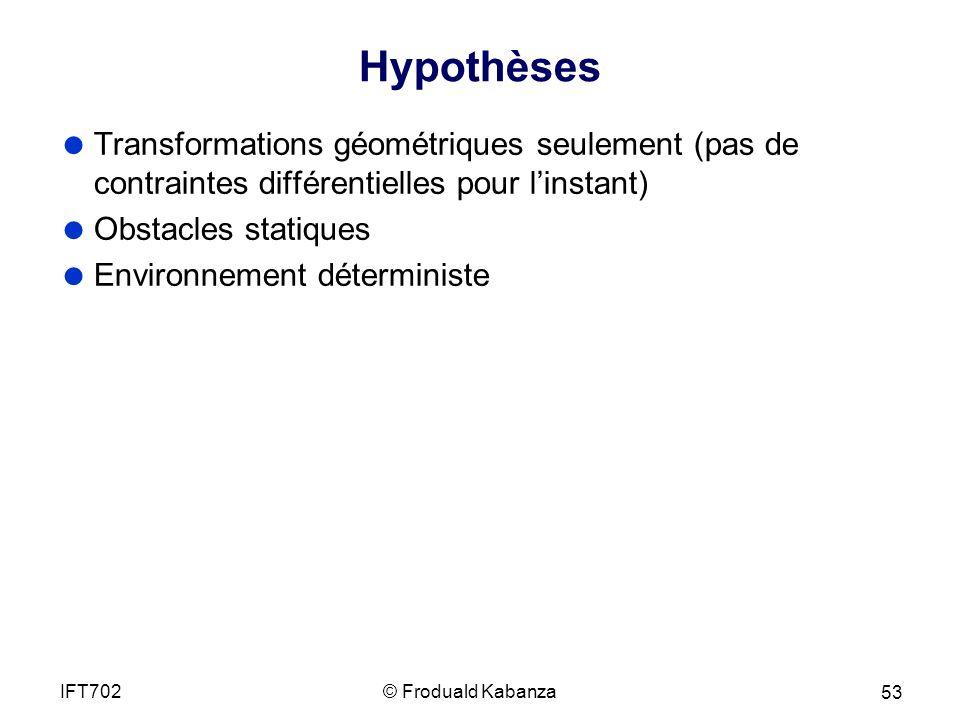 Hypothèses Transformations géométriques seulement (pas de contraintes différentielles pour linstant) Obstacles statiques Environnement déterministe © Froduald KabanzaIFT702 53