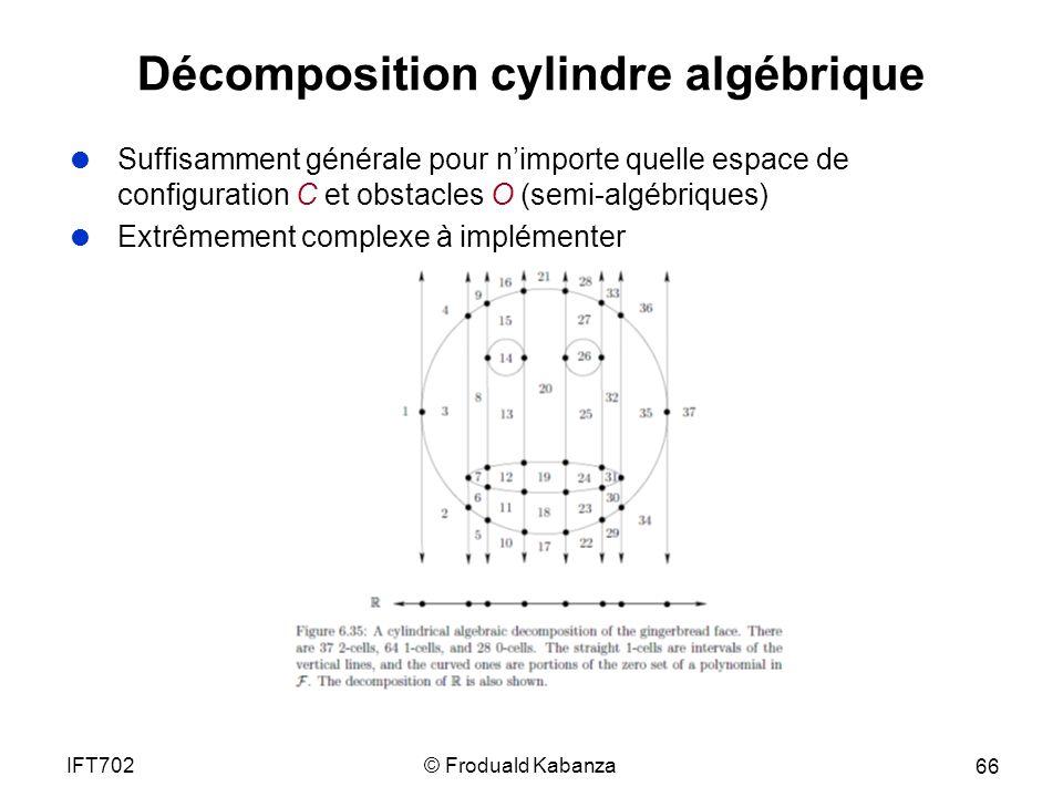 © Froduald KabanzaIFT702 66 Décomposition cylindre algébrique Suffisamment générale pour nimporte quelle espace de configuration C et obstacles O (semi-algébriques) Extrêmement complexe à implémenter