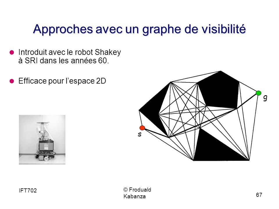 © Froduald Kabanza IFT702 67 Approches avec un graphe de visibilité Introduit avec le robot Shakey à SRI dans les années 60.