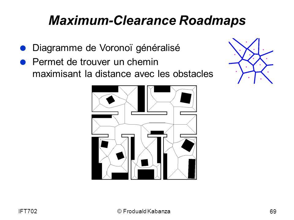 © Froduald KabanzaIFT702 69 Maximum-Clearance Roadmaps Diagramme de Voronoï généralisé Permet de trouver un chemin maximisant la distance avec les obstacles