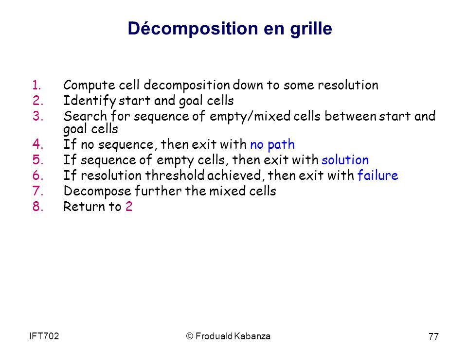 1.Compute cell decomposition down to some resolution 2.Identify start and goal cells 3.Search for sequence of empty/mixed cells between start and goal