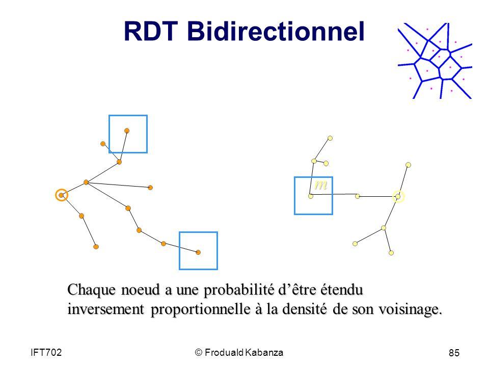 RDT Bidirectionnel m Chaque noeud a une probabilité dêtre étendu inversement proportionnelle à la densité de son voisinage.