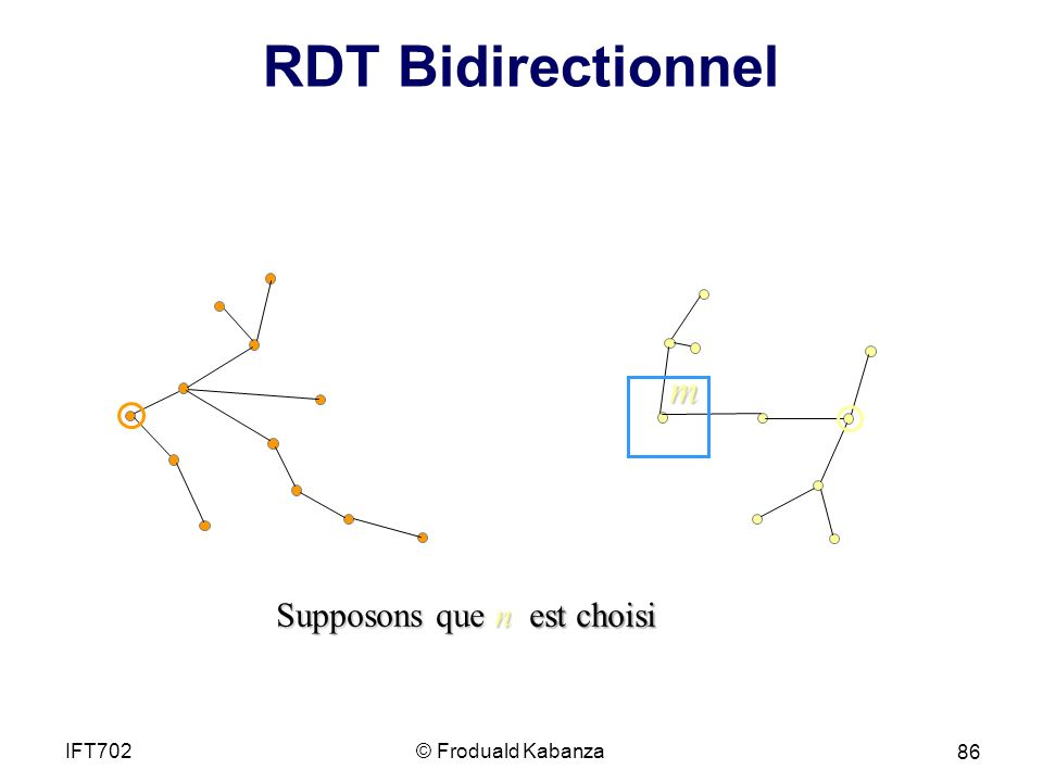 RDT Bidirectionnel Supposons que n est choisi © Froduald KabanzaIFT702 86 m