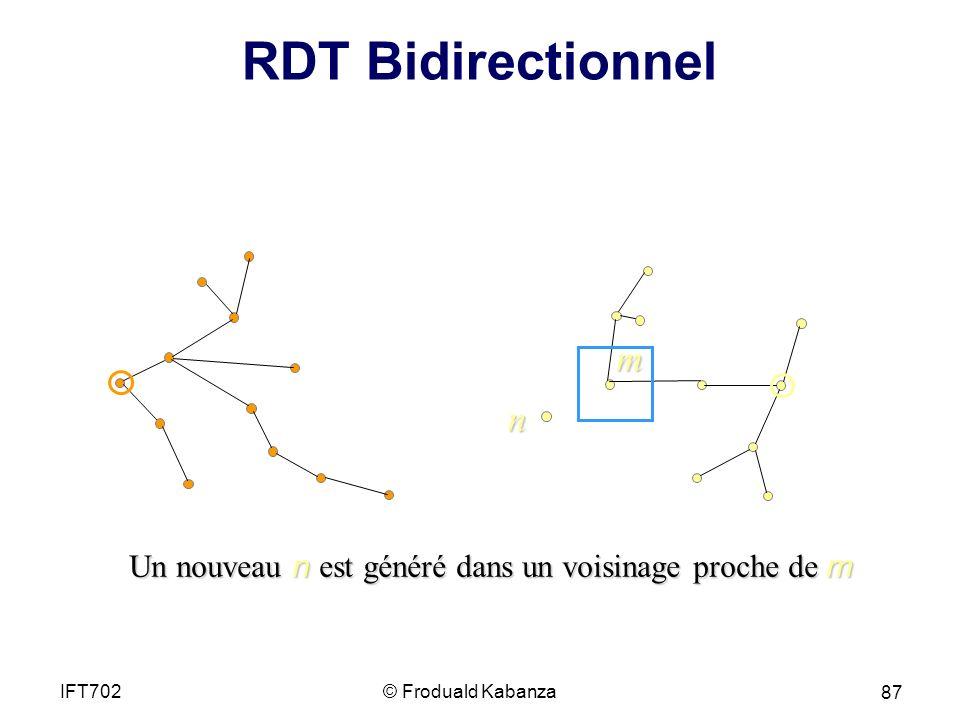 RDT Bidirectionnel m Un nouveau n est généré dans un voisinage proche de m © Froduald KabanzaIFT702 87 n