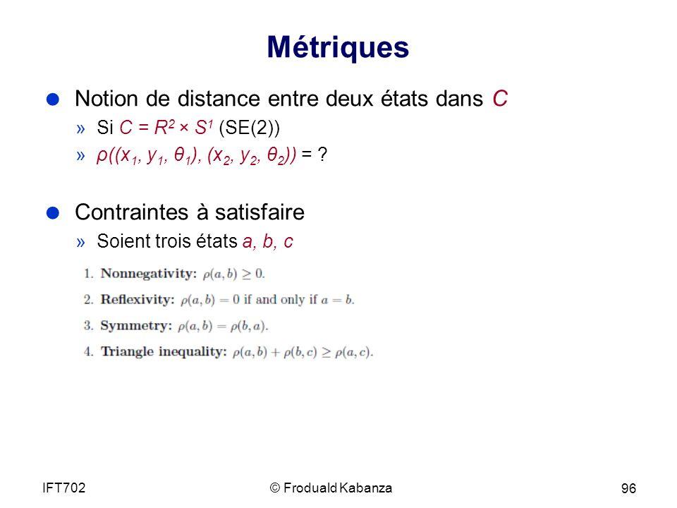 Métriques Notion de distance entre deux états dans C »Si C = R 2 × S 1 (SE(2)) »ρ((x 1, y 1, θ 1 ), (x 2, y 2, θ 2 )) = .