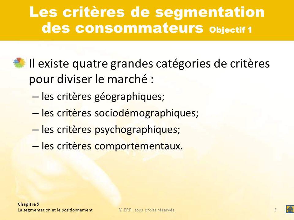 Chapitre 5 La segmentation et le positionnement© ERPI, tous droits réservés.