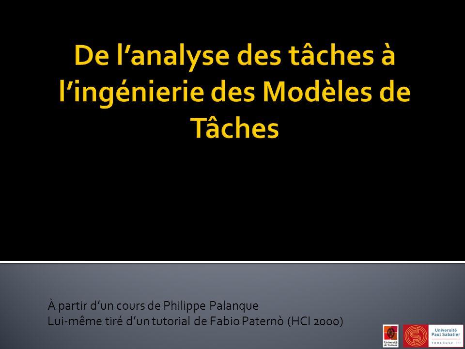À partir dun cours de Philippe Palanque Lui-même tiré dun tutorial de Fabio Paternò (HCI 2000)