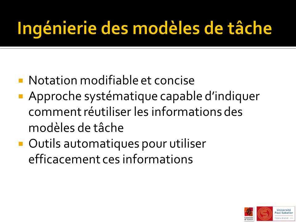Notation modifiable et concise Approche systématique capable dindiquer comment réutiliser les informations des modèles de tâche Outils automatiques pour utiliser efficacement ces informations