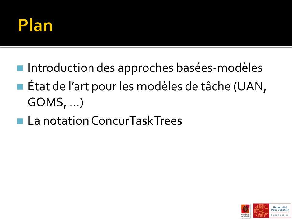 n Introduction des approches basées-modèles n État de lart pour les modèles de tâche (UAN, GOMS, …) n La notation ConcurTaskTrees