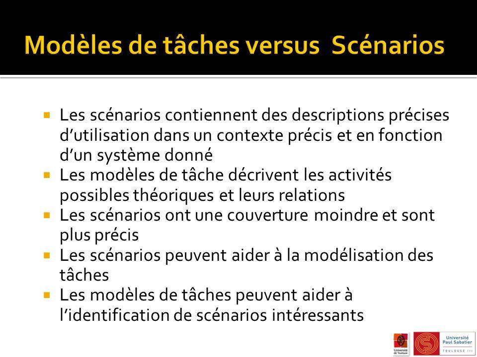 Les scénarios contiennent des descriptions précises dutilisation dans un contexte précis et en fonction dun système donné Les modèles de tâche décrive