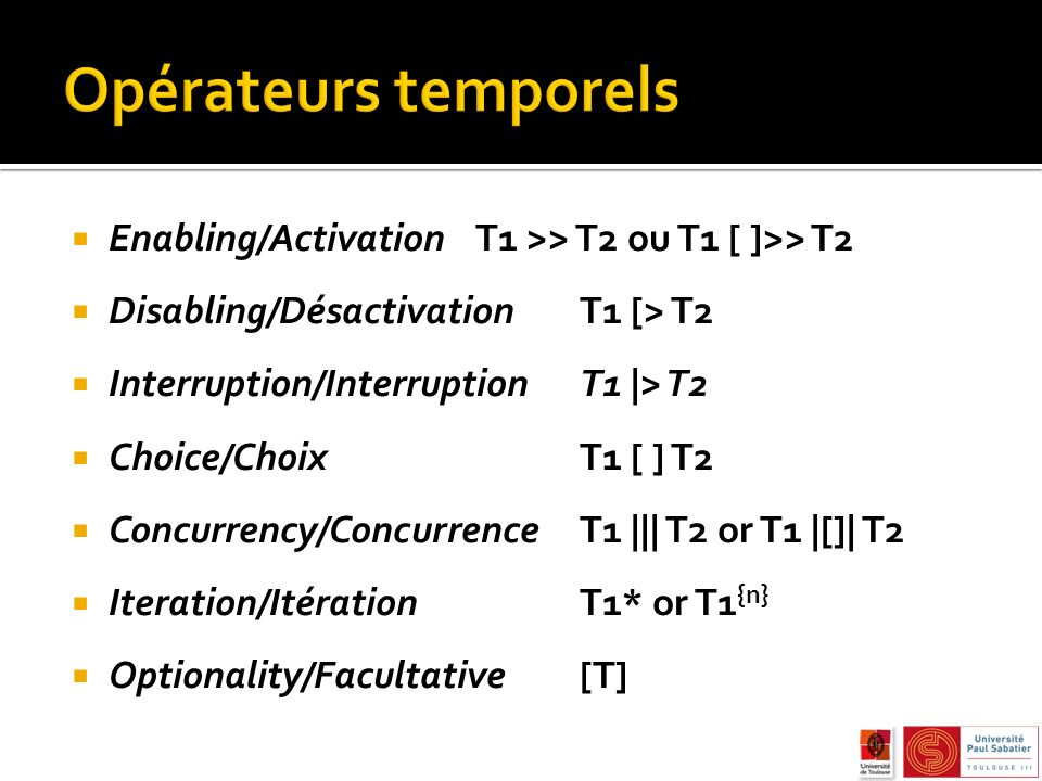 Enabling/ActivationT1 >> T2 ou T1 [ ]>> T2 Disabling/DésactivationT1 [> T2 Interruption/InterruptionT1 |> T2 Choice/Choix T1 [ ] T2 Concurrency/Concur