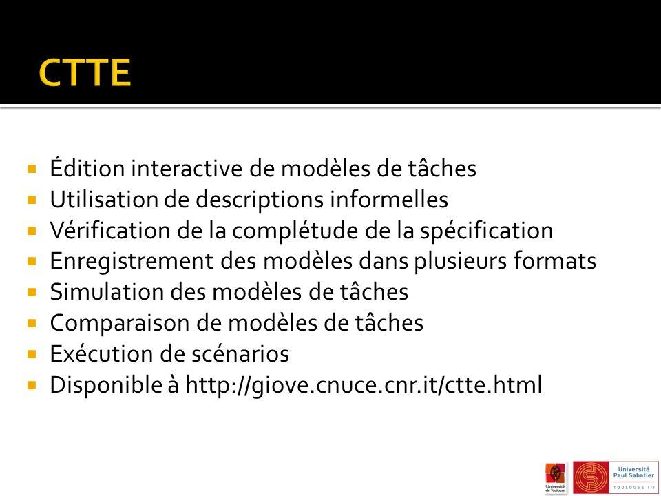 Édition interactive de modèles de tâches Utilisation de descriptions informelles Vérification de la complétude de la spécification Enregistrement des modèles dans plusieurs formats Simulation des modèles de tâches Comparaison de modèles de tâches Exécution de scénarios Disponible à http://giove.cnuce.cnr.it/ctte.html