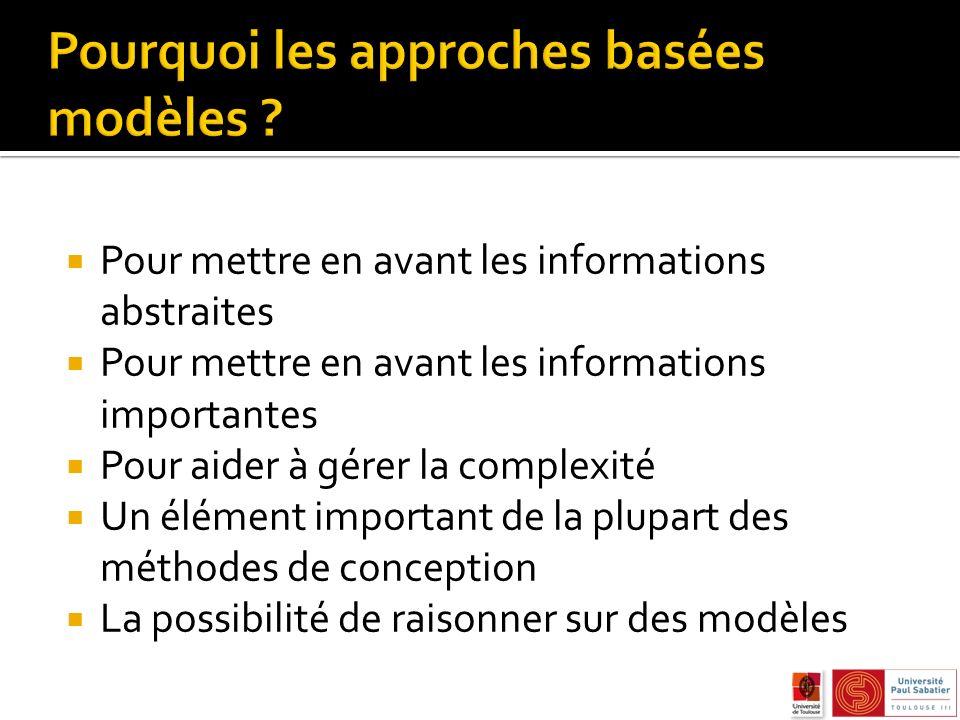 Pour mettre en avant les informations abstraites Pour mettre en avant les informations importantes Pour aider à gérer la complexité Un élément important de la plupart des méthodes de conception La possibilité de raisonner sur des modèles
