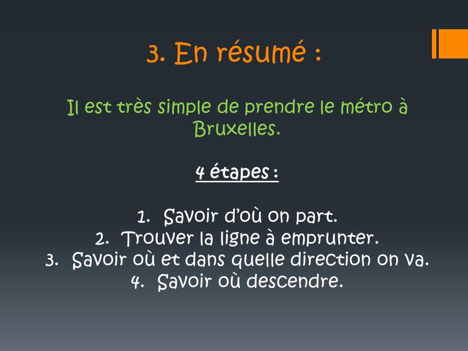 3. En résumé : Il est très simple de prendre le métro à Bruxelles. 4 étapes : 1.Savoir doù on part. 2.Trouver la ligne à emprunter. 3.Savoir où et dan
