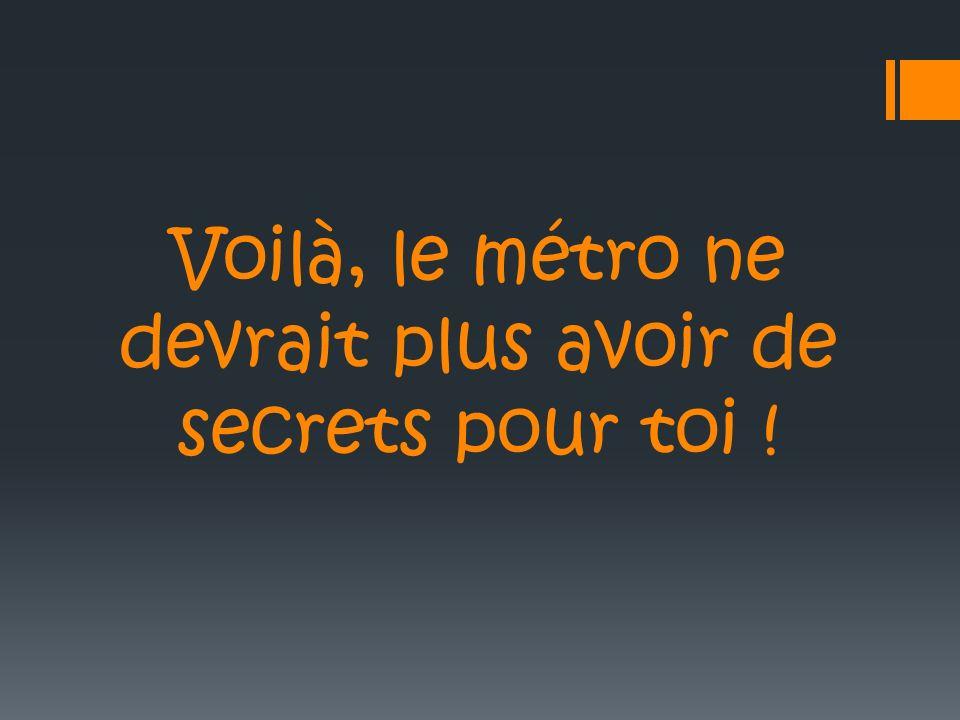 Voilà, le métro ne devrait plus avoir de secrets pour toi !