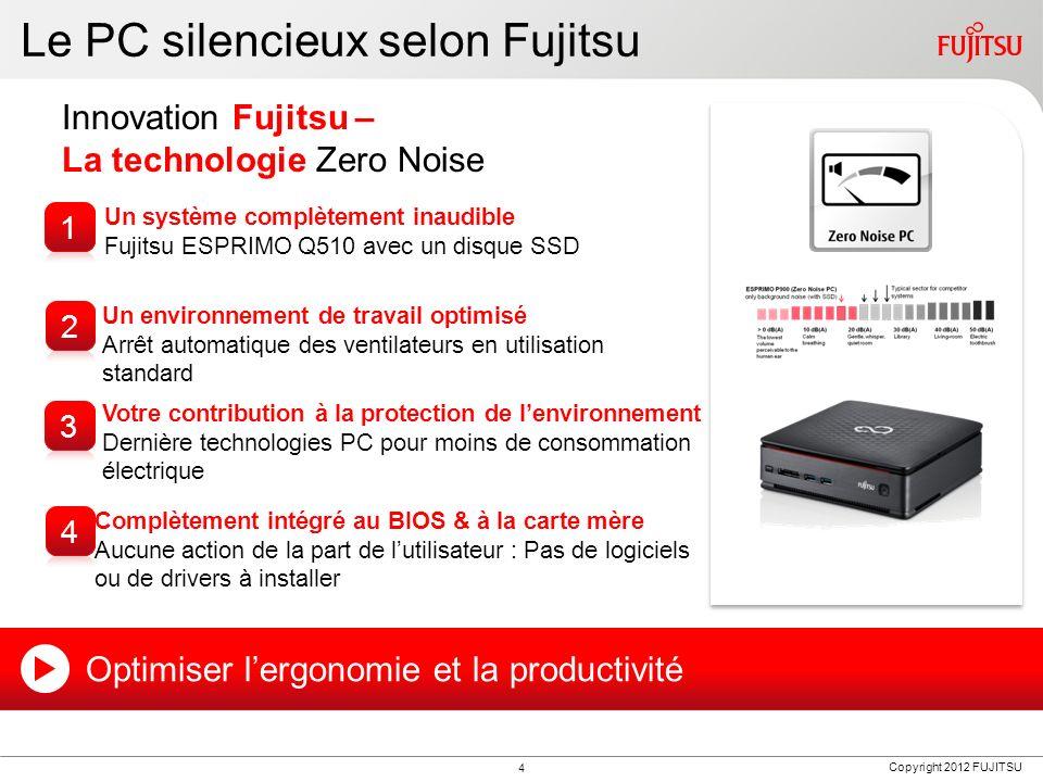 Copyright 2012 FUJITSU Le PC silencieux selon Fujitsu Innovation Fujitsu – La technologie Zero Noise Un système complètement inaudible Fujitsu ESPRIMO