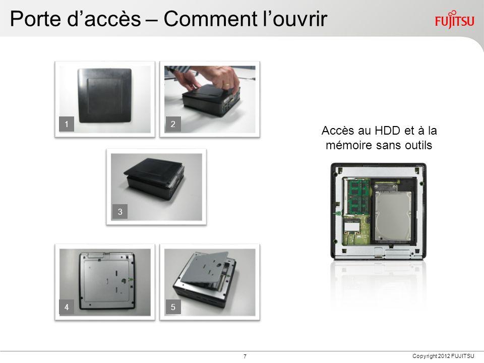 Copyright 2012 FUJITSU Porte daccès – Comment louvrir 12 3 45 Accès au HDD et à la mémoire sans outils 7