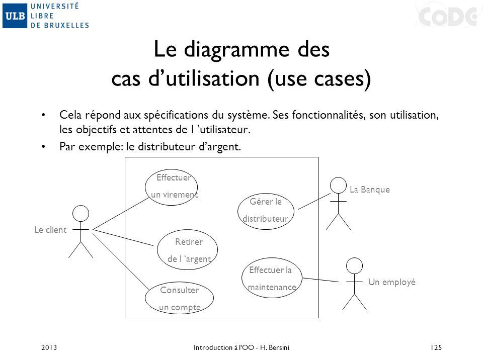 Le diagramme des cas dutilisation (use cases) Cela répond aux spécifications du système. Ses fonctionnalités, son utilisation, les objectifs et attent